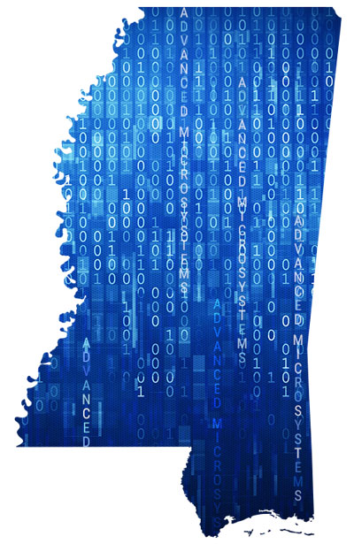 Mississippi map with graphical rendering of binary code - IT Customer Service
